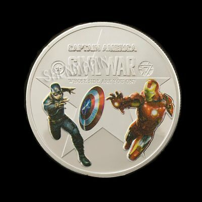 SAVE SALE Silver Plated Captain America and Iron man Civil War Coin Avengers