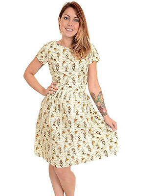 WOMENS RUN&FLY Retro Vintage 50's style tea dress with Alice In Wonderland print