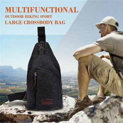 Black hot unisex canvas chest bag multi-function outdoor hiking sports larg B8T8