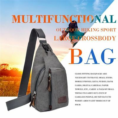 Gray hot unisex canvas chest bag multi-function outdoor hiking sports large K1Q5