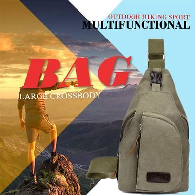 ArmyGreen hot unisex canvas chest bag multi-function outdoor hiking sports  Y6A5