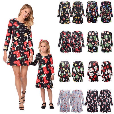 Christmas Family Sundress Mother Daughter Matching Xmas Dress for Women Girl