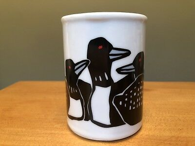 Vintage MARC TETRO CANADA Mug Cup 5 COMMON LOONS ~ DUCKS, Hand-Painted