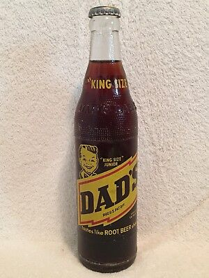 FULL 12oz DAD'S ROOT BEER KING SIZE JUNIOR ACL SODA BOTTLE