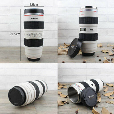 Canon Camera Lens Shaped EF 70-200mm Drink Thermos Coffee Cup Mug -White Gift