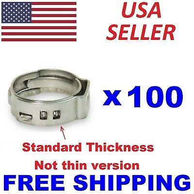 "100 pc 5/8"" PEX Stainless Steel Pex Clamp Cinch Ring Crimp Pinch Fitting ASTM US"