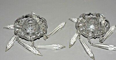 Vtg Pair Crystal Chandelier Candlestick Candle Holders Bobeche Prisms