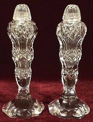 "Gorgeous! Vintage 5-7/8"" Tall Glass Crystal Salt & Pepper Shakers w/ Glass Lids"