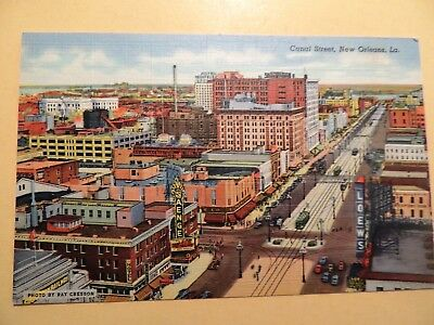 New Orleans Louisiana Canal Street aerial view vintage linen postcard