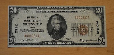 1929 $20 THE SECOND NATIONAL BANK OF GREENVILLE OHIO  BANKNOTE low serial #