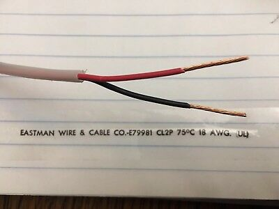 25' Eastman Wire Plenum CL2P 75C 18AWG (UL) 2c Conductor Teflon Cable 18/2 18ga