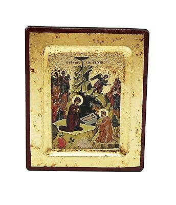 Greek Russian Orthodox Lithography Icon Nativity of Christ 12.5x10cm
