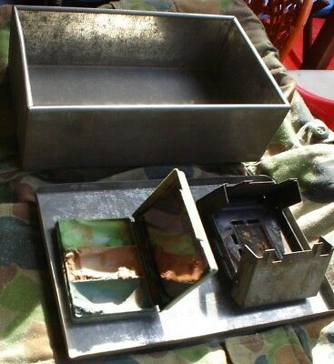 3 X Australian Army Military Hexamine Stove,camonflarge Paint Used + Tin 23 X 7