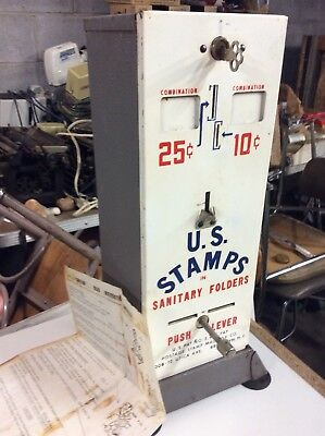 Vintage US Mail Postage Metal Stamp Vending Machine-Coin 10 & 25 Cent -Very Good
