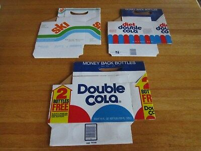 Lot 3 Soda Pop Cardboard Carrying Cartons Double Cola Diet Ski Nos Evansville In