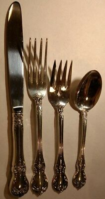 Towle Sterling silver OLD MASTER 4-pc place setting. knife,spoon,fork,salad fork