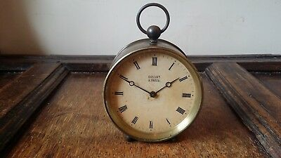 1890's Antique Brass Cased French Drum Clock 8 Day - Collet A Paris