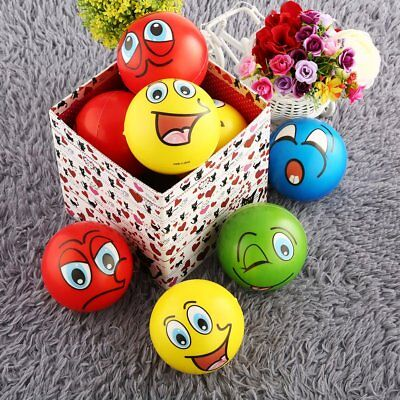 12PC 6.3CM Facial Expression Stress Relief Sponge Foam Balls Hand Squeeze Toy AZ
