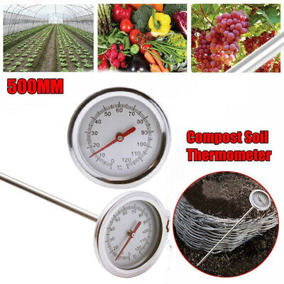 Compost Soil Thermometer Premium Stainless Steel Bimetal Probe 0℃~120℃ Sale Az