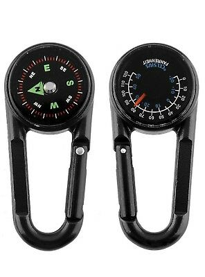 (Black) - Compass Carabiner + Compass + Thermometer Multifunctional Portable