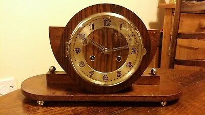 1920's Art Deco Chiming Mantel Clock - 8 Day - Drum Case - Good Working Order