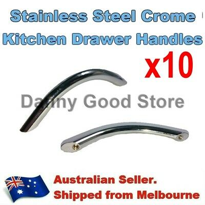 10 Polished Chrome Steel Pull Handles For Kitchen Cabinet Cupboard Draw 96mm