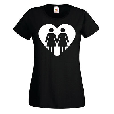 Ladies Lesbian Heart Sign T-shirt Gay Pride LGBT Love Girlfriend Party Gift Top