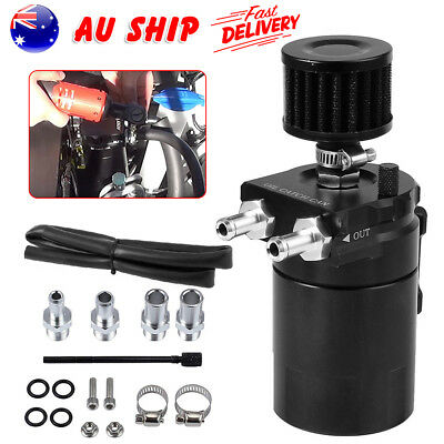 Oil Catch Can Universal Breather Baffled Diesel Reservoir Tank Petrol Filter Kit