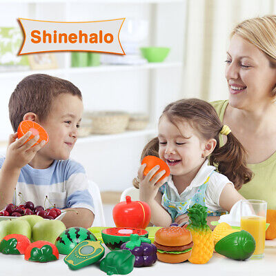 24 Piece Kitchen Pretend Role Play Set Kid Fruit Vegetable Cake Playset Food Toy