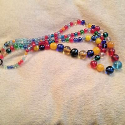 VINTAGE LONG 2 x HARLEQUIN GLASS BEAD NECKLACES spares repairs upcycle art deco