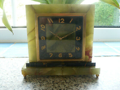 Art Deco Swiss 8 Day Twin Enamel Dial Partner Onyx Clock