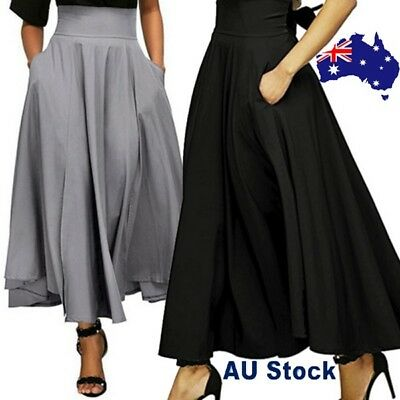 Womens High Waist Long Skirt Fashion Pleated A Line Front Slit Belted Maxi Skirt