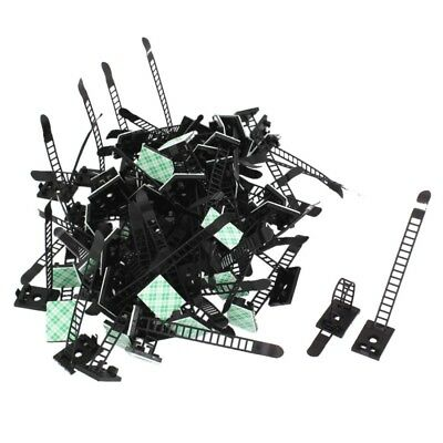 1X(Plastic Stick on Adjustable Cable Wire Fixing Clip Holder Black 100Pcs G G8E6