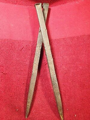 Lot of 2 HUGE HEAVY ANTIQUE 18-19 cent HANDFORGED IRON NAILS SPIKES SCANDINAVIA