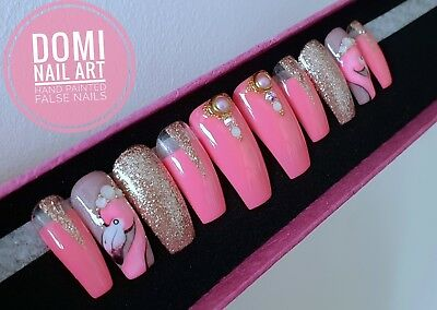 Extra Long Hand Painted False Nails Nude Glitter Fading Nail Art Coffin Stiletto Artificial Nail Tips