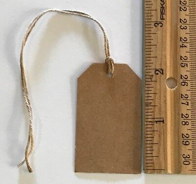 100 pc brown kraft cardstock Hang Tags w/ stained String price handmade wedding