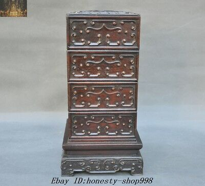 """13"""" Old Chinese Dynasty Rosewood Wood Hand-Carved""""福""""storage box Jewelry boxes"""
