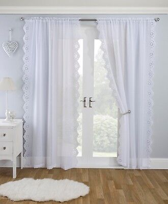 HARMONY VOILE White Lace Embroidered Panel Net Curtain Slot Top Heading