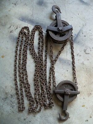 Vintage Weston 1 Ton Hoist System, Swivel Head  Pulley, Chain Fall, differential