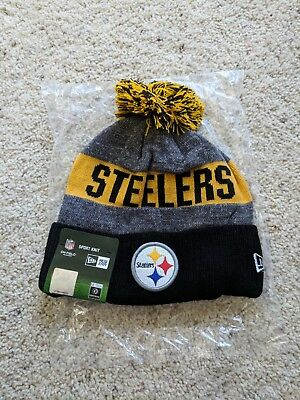 New Era Pittsburgh Steelers Knit Pom Beanie Adult Sideline Hat Gray and  Yellow eb744e0bd