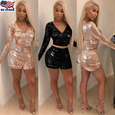 2PCS Women's Deep V Neck Sequins Bodycon Cocktail Clubwear Party Jumpsuit Romper