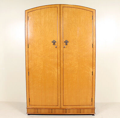 Vintage Birdseye Maple Wardrobe Arched Amoire Art Deco Moderne