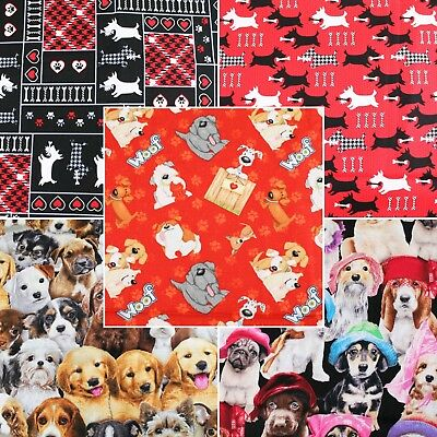 Fabricland Christmas Red Dog Cotton Fabric Quilting Craft FQ Bundle Meter