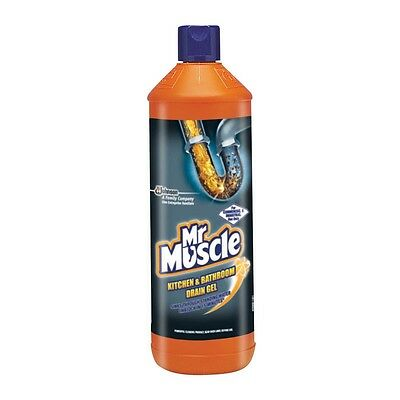 Two Bottles of Mr Muscle Kitchen & Bathroom Drain Gel - Unblock In 15 Minutes
