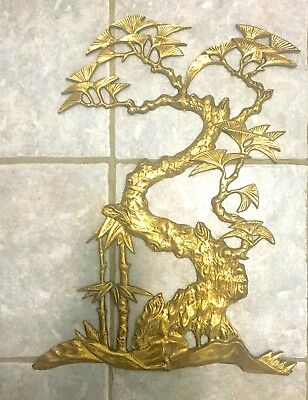 Vintage Mid-Century Solid Cast Brass Wall Art/Plaque - Gingko Tree - 21 Inches