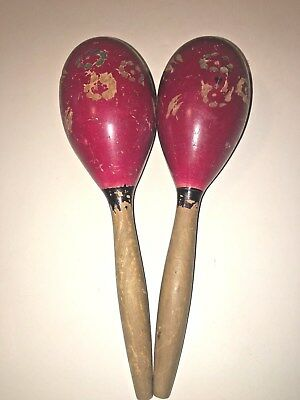 Red Maracas Hand Carved Vintage