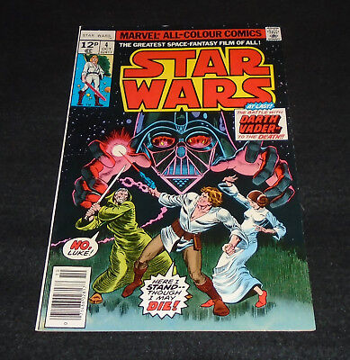 Vintage Star Wars # 4  Marvel Comics Vol 1 Oct 1977. Darth Vader, Han Solo Etc
