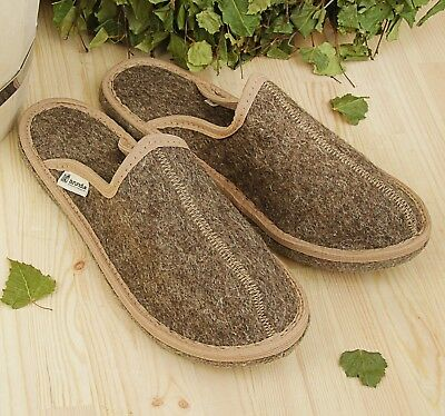 Men's Indoor Slippers 100% Sheep Wool Felt Russian Slippers Warm Cozy Home Shoes