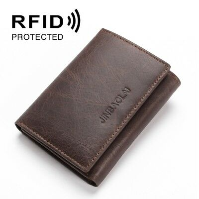 RFID Secure Genuine Leather Wallet Card Holder Money Pocket Purse Clutch Trifold