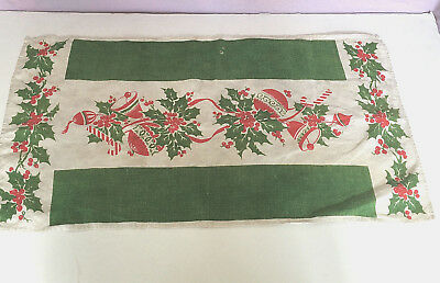 vintage Christmas table runner tea towel shabby cottage chic decor green red
